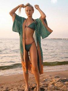 Melphieer Frauen Bademode Kimono lange lose Gewand Hülsen breite Krawatten Schärpe Kleid langen Kleid Strand