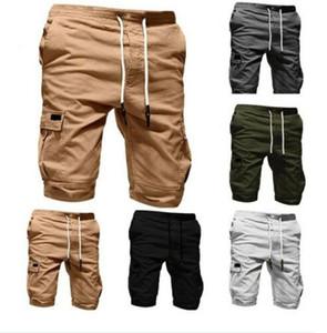 Hombres Pantalones cortos Pantalones cortos Casual basculador Pokects sólido entrenamiento de combate elástico Deportes carga militar verano de la gimnasia para hombre Pantalones