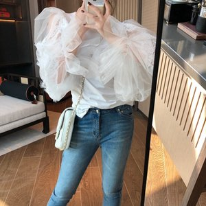 Thailand fashion brand women's early autumn niche puff sleeve lace top super beautiful puff sleeve lace stitching details super beautiful ML