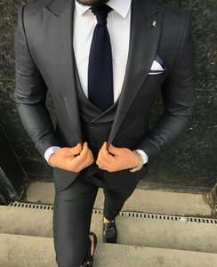 Handsome Black Mens Wedding Tuxedos For Groom Slim Fit Peaked Lapel Best Man Wear Party Prom Blazer Suit(Jacket+Vest+Pants)
