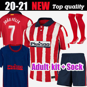 2021 Nuovo # 7 JOAO FELIX pullover di calcio 20 21 adulti Kit + Socks Atletico Madrid KOKE SAUL CORREA Thomas Lemar Shirts Soccer Jersey 2020