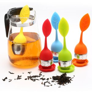 New silicon tea infuser Leaf Silicone Infuser with Food Grade make bag filter creative Stainless Steel Tea Strainers multiple colors