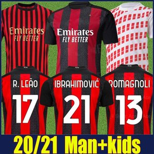 2020 AC Milan Ibrahimovic Soccer Jersey crianças kit 120 Anniversary Edition Rebic R.LEAO ROMAGNOLI camisa de futebol Camisa AC Milan 20/21
