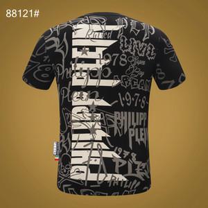 PHILIPS pianura del progettista del Mens magliette dal design di lusso di nuova marca dei manicotti di modo pp trapano testa cranio parti superiori casuali chuan04
