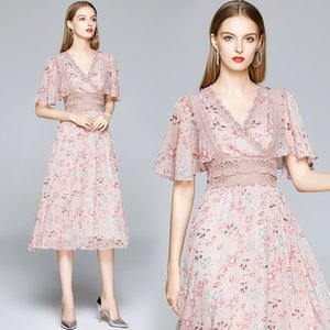 Boutique Girl Dress Short Sleeve Chiffon Floral Women Summer Midi Dress Temperament Lady Dress Party Holiday Dresses