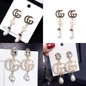 Fashion Design Women 925 Silver Needle New Diamond Sequins Euramerican Alloy Long Earrings Exaggerated Pearl Eardrop Jewelry