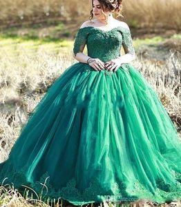 vestidos de quincea?era Green Ball Gown Quinceanera Dresses 2020 Off Shoulder Appliques Prom Girls Party Gowns Vestidos De 15 Anos Plus Size