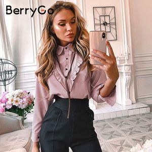 BerryGo informal camisa de la blusa de la manga de la oficina de Long atar las tapas elegantes blusas femeninas trabajo volante desgaste del verano Blusas