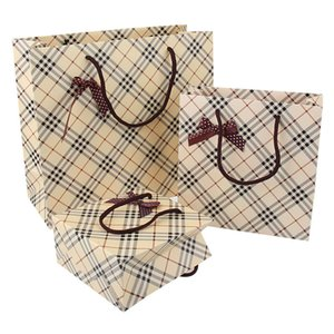 5PCS Plaid Tote Bag Cardboard Gift Wrapping Bags Birthday Wedding Baby Shower Souvenir Candy Present Packing Favor