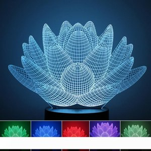 7 Renk Çocuk Dekorasyon Doğum Düğün Dekor için Lotus Çiçekleri Masa Lambası 3D Etkisi LED Işık Noel Tatili ışıkları Değişti