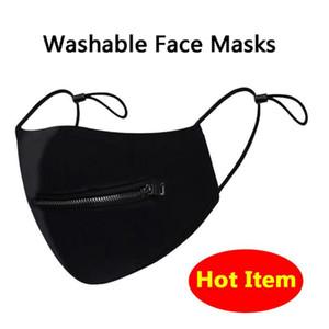 Ajustable cremallera lavable máscara máscaras de secado rápido de la cara Zip Abrir la rejilla de impresión cubrir la boca Oro Negro Coma la bebida de portada cara pública