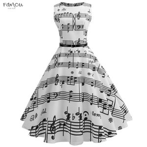 Vintage Print Music Notes Bodycon Sleeveless Casual Evening Party Prom Swing Dress For Women Party Dress Women *N