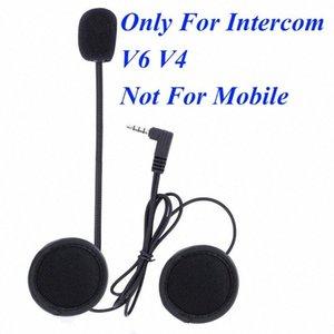 V6 V4 Intercom Accesorios Traje de 3,5 mm estéreo del enchufe de gato del auricular para el V6 V4 intercomunicador de Bluetooth de la motocicleta con dura o blanda Mic 12Ge #