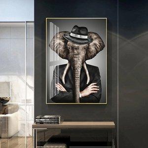Resumen elefante animal del león del tigre Poster Pared lona de arte Pintura imprimir las imágenes de la sala principal de la decoración interior