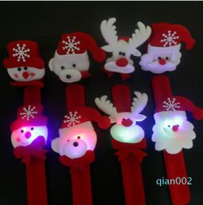 Экологичное Рождество Slap браслеты Christmas Xmas Санта-Клаус снеговика игрушки Slap Пат с LED Light Circle Браслет Wristhand украшения