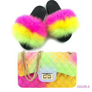 Kadın Sandalet Çanta Çantalar Seti Jelly Cüzdanlar Eşleştirme Renk Lüks Kürk Terlik Seti Kadınlar Gerçek Fox Kürk Slaytlar ve Çanta