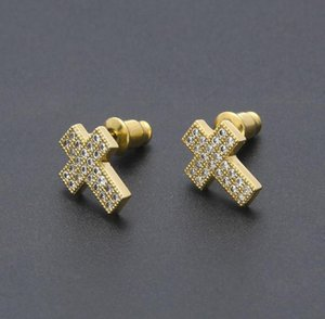 Mens Hip Hop Stud Earrings Jewelry High Quality Fashion Gold Silver Zircon Cross Earrings For Men