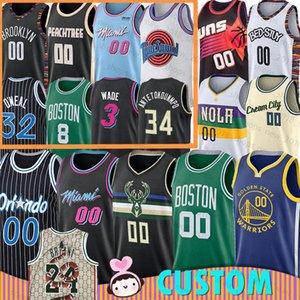 Bucks de Miami Nueva Orleans Pelícanos Heat Baloncesto personalizada Jersey Boston Orlando celta magia Milwaukee Brooklyn Nets Atlanta Atlanta oro mm