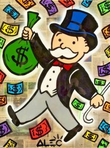 Alec Monopoly Urban art Money Color Home Decor Handpainted &HD Print Oil Painting On Canvas Wall Art Canvas Pictures 1211