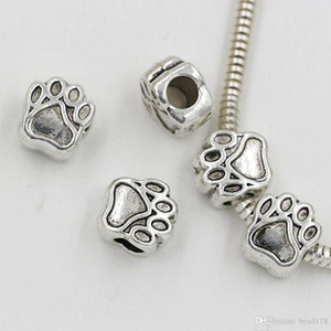 Hot 40pcs lots Antique silver Zinc alloy Paw prints Spacers Big Hole Beads Fit Beaded Charm Bracelet 11*10mm DIY Accessories