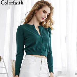 2020 Colorfaith Herbst-Winter-Frauen gestrickten Pullover Cardigans Einzel breated Short Damen Crop Tops SW7169
