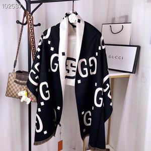 La última Gucci 2020 otoño e invierno nueva hembra de lujo de alta calidad estilo flecos doble cara-cachemira bufanda chal mezcla de dos tonos