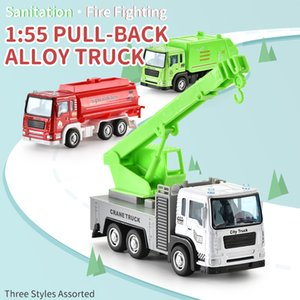 01:55 Mini Alloy Model Car Toy Fire Truck Sanitation Truck Rescue veicolo del fumetto Auto Per Ragazzi regalo 07