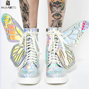 Prova Perfetto 2020 Butterfly Wings Women Sneakers Lace up Platform Ladies Shoes Shiny High Tops Flat Casual Rubber Botas Mujer CX200722