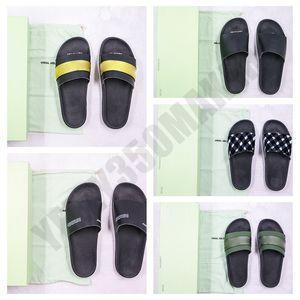 Designer Shoes negro raya blanca 2020 de oro IZQUIERDA DERECHA OG raya azul rojo verano de la playa cubierta plana tirón deslizadores Fracasos de sandalia con la caja