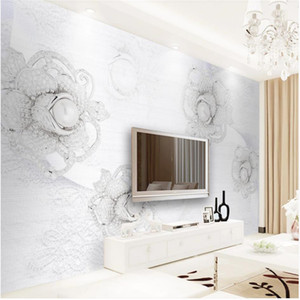 Modern simple three-dimensional jewelry flower TV background wall