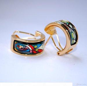 Woman Before a Mirror Series Hoop earring 18K gold-plated enamel earrings for woman Top quality hoop earrings