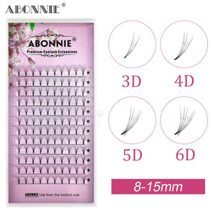 Abonnie 12rows lashes 3d 4d 5d 6d short root pre made fans russian volume lash pre made fans eyelash extensions 0.07 0.10 C D