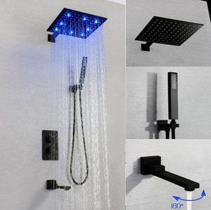 2020 New Design Hotel Shower Set with Brass Thermostat Mixer Diverter,300X300MM Large Rainfall LED Shower Head,Spout Black Finish
