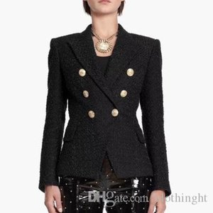Black Color Women's Long Sleeve Double Breasted Slim Fashion Jacket Office Lady Fashion Coat Spring Style Top Quality Slim suit J1
