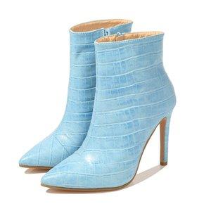 Женская лодыжка носок ботинок мода осень зима растягивающие сапоги 6 см ступени высокие каблуки заостренные носки женские туфли