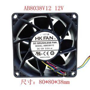 Nueva Hangjia HK 8038 FAN ventilador de 8cm AB8038V12 12V refrigeración violenta de 4 hilos