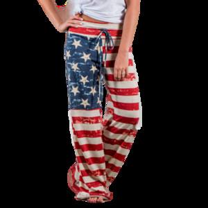 Womens Casual High Waist Loose Wide Leg Pants Striped Star Print Women Patchwork Palazzo Long Bell Bottom Harajuku Trousers