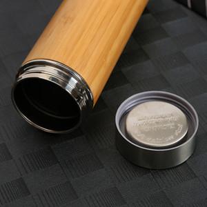 500ml Original Bamboo Tumbler with Tea Infuser & Strainer Bamboo Tea Tumbler Travel Mug 17oz Stainless Steel Tea Bottle