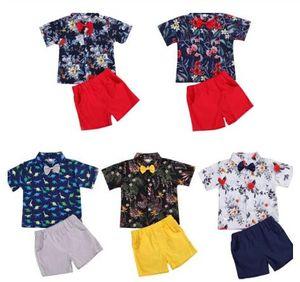 2020 Summer Gentleman Infant Dinosaur Baby Boys 2Pcs Clothes Sets Print Bow Tie Short Sleeve Shirts Tops Shorts