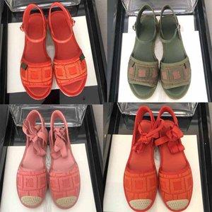 Designer 2020 delle donne dei sandali di modo Broad fondo piatto fondo scarpe ricamate Fisherman canapa corda intrecciata Casual Shoes Grandi 41