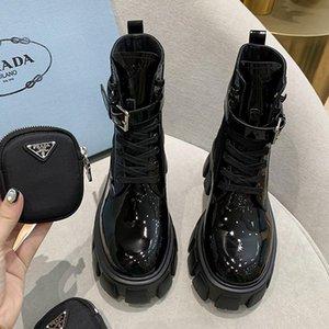 2020 Luxury Designer Womens Lace Up Boots corti, in pelle Womens suola spessa Fashion Boots romano stivali con dimensioni sacchetto della chiusura lampo 35-40 0084