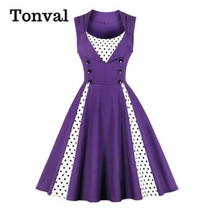 Tonval Purple Contrast Polka Dot Double Breasted High Waist Rockabilly Dresses for Women Summer Cotton Plus Size Vintage Dress