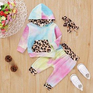 Малыш Baby Girl Boy зимней одежды Leopard Tie Dye Hoodie Брюки ободки Набор 3шт с длинным рукавом Толстовка с капюшоном Брюки Set