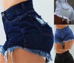 High Waist Regular Skinny Shorts Women Holes Button Fly Slim Shorts Womens Designer Tassel Jeans Shorts