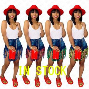 A vita alta nappa lunga denim shorts Summer Fashion Night club sexy del Beachwear dei pantaloni di bicchierini del partito delle donne casuale D71603 Breve panno dei jeans