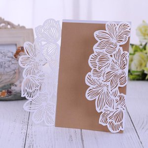 110 PCS Lace Laser Cut Wedding Invitations Cards Elegant Floral Paper Invites for Marriage Birthdays baby shower invite friends