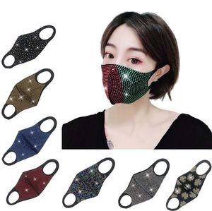 Mode Bling Bling Strenestones Designer Face Masque Masque Masque Protecteur PM2.5 Préfichage anti-poussière Masques de réutilisation élastique Earboop FY0028