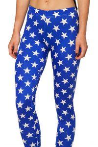 Starry Sky Digital printing blue white five-pointed star Tight pants pencil pants leggings pencil leggings Lgs3179