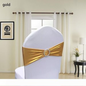 Metallic Gold Silver Spandex Lycra Chair Sashes Bands Chair Cover Sash Wedding Party Chair Decor wen4469