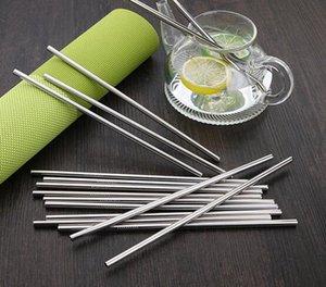 Paslanmaz Çelik Düz İçme Straw Yeniden kullanılabilir Metal Hasır Barware Çay Kahve Araçları 215 * 12mm Toptan Ücretsiz Kargo CFYZ30